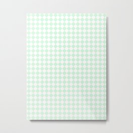 Small Diamonds - White and Pastel Green Metal Print