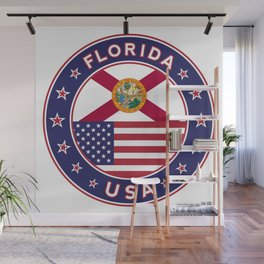 Florida, Florida t-shirt, Florida sticker, circle, Florida flag, white bg Wall Mural