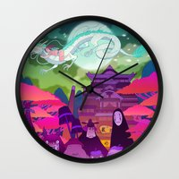spirited away Wall Clocks featuring Spirited Away by Jen Bartel