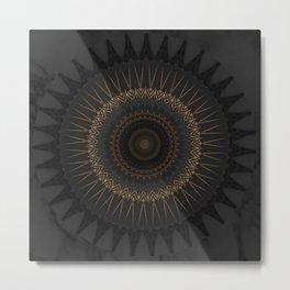 Black Marble and Bronze Modern Mandala Metal Print