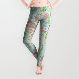 Pattern with mermaid, fishes, coral, shell, seahorse and seaweeds. Leggings