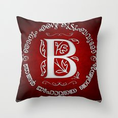 Joshua 24:15 - (Silver on Red) Monogram B Throw Pillow