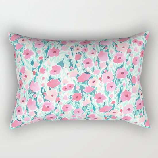 Flower Field Pink Mint Rectangular Pillow