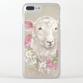 Sheep With Floral Wreath by Debi Coules Clear iPhone Case