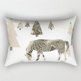 Winter Woods with Horse Rectangular Pillow