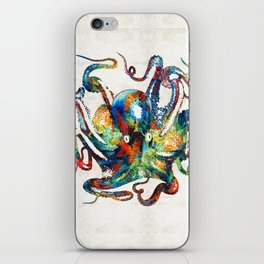 Colorful Octopus Art by Sharon Cummings iPhone Skin