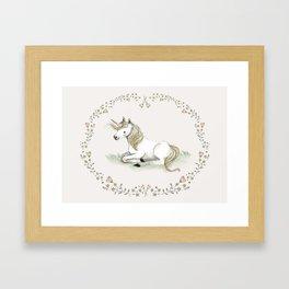 Flamingo illustration, nursery decor girl Framed Art Print