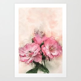 Vintage Pink Flower #floral #society6 #watercolor Art Print