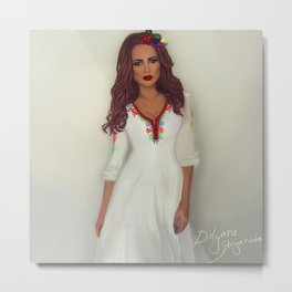 Bulgarian woman traditional costume Metal Print