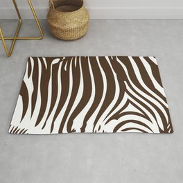 Zebra Stripes | Animal Print | Chocolate Brown and White | Rug
