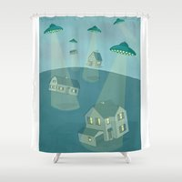 ufo Shower Curtains featuring UFO by Banessa Millet