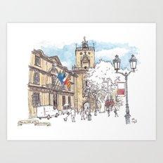 Place de l'Hotel de Ville, Aix-en-Provence Art Print