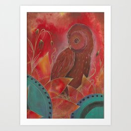 Owl in the flowers Art Print