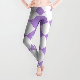 Large Diamonds - White and Light Violet Leggings