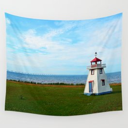 Long Bridge and Tiny Lighthouse Wall Tapestry