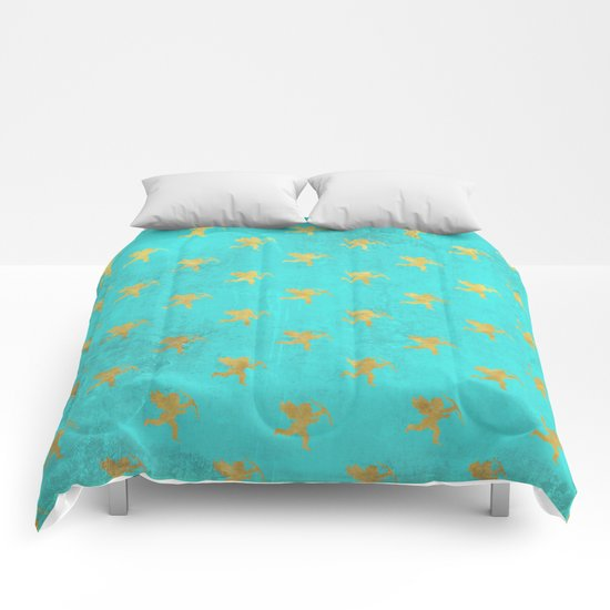 Gold Angels on aqua backround- pattern Comforters