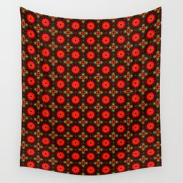 Red Green Christmas Star Mosaic Pattern Wall Tapestry
