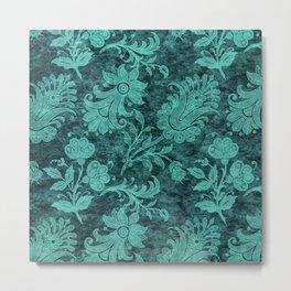 Burgundy Turquoise Velvet Floral Pattern 10 Metal Print