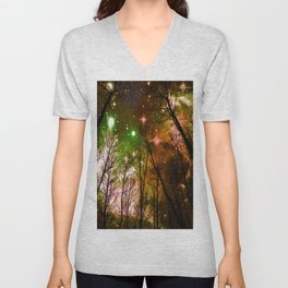 Black Trees Peach Brown Green Space Unisex V-Neck