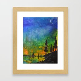 Northern Lights (moon right side) Framed Art Print