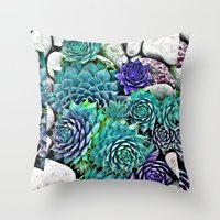 succulents Throw Pillows featuring succulents by Sara Eshak