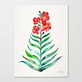 Blooming Orchid – Red & Green Palette Canvas Print