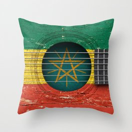 Old Vintage Acoustic Guitar with Ethiopian Flag Throw Pillow
