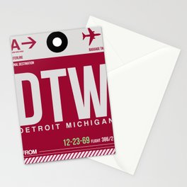 DTW Detroit  Luggage Tag 1 Stationery Cards