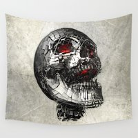 cyberpunk Wall Tapestries featuring No Laughing Matter (background option) by Obvious Warrior