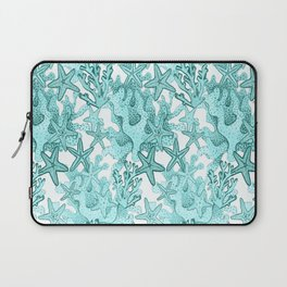 Star fish and coral reef in teal blue Laptop Sleeve