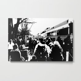 ALL ABOARD! Waiting to get on the Train! Metal Print
