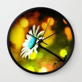 Turquoise Daisy In Gold Wall Clock