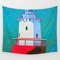 lighthouse Wall Tapestries featuring Lighthouse by Judy Palkimas