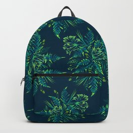 Ferns and Parrot Tulips - Green Backpack