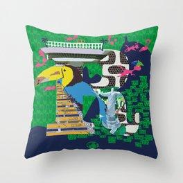 Mews in Rio de Janeiro (Typography) Throw Pillow