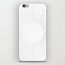 Sunburst Moonlight Silver on White iPhone Skin