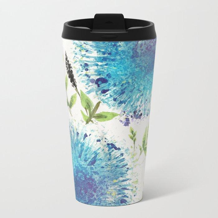 Dandelions Blue Metal Travel Mug