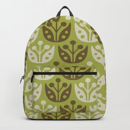 Mid Century Modern Flower Pattern Chartreuse and Brown 112 Backpack