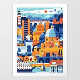 Cagliari Mediterranean Town Travel Cityscape Art Print
