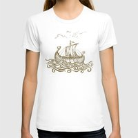 rowing T-shirts featuring Viking ship by mangulica illustrations