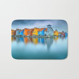 Blue Morning at Waters Edge Groningen Netherlands Europe Coastal Landscape Photograph Bath Mat