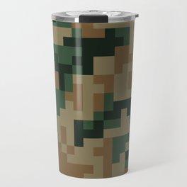 Green and Brown Pixel Camo pattern Travel Mug
