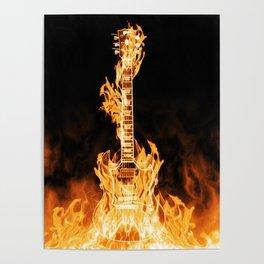 Flaming Guitar Poster
