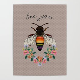Bee You on Hive Pattern Poster