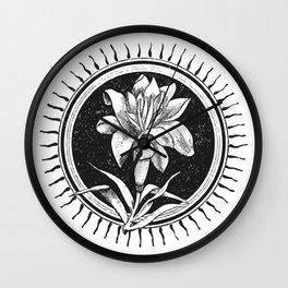 White flower Flor blanca Wall Clock
