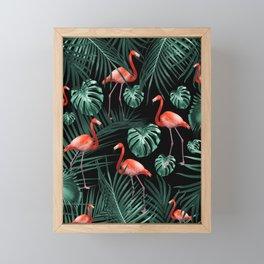 Tropical Flamingo Night Pattern #1 #tropical #decor #art #society6 Framed Mini Art Print