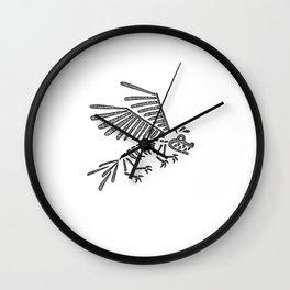 Blue Dog Skeleton Wall Clock