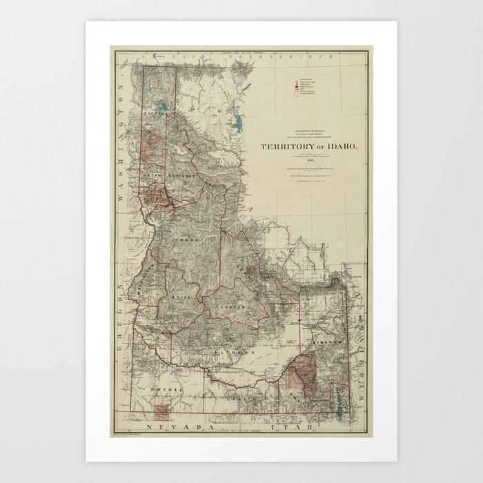 image about Printable Map of Idaho identified as Map of Idaho 1888 Artwork Print via lydiadavid