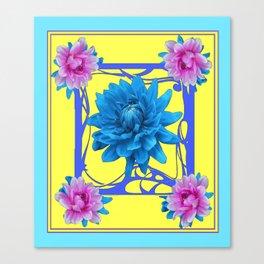 Art Nouveau  Blue-Pink Dahlia Floral Art Canvas Print