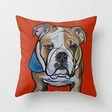 Johnny the English Bulldog Throw Pillow